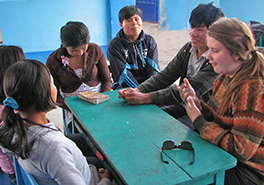 Presbytery and Peruvian youth engaged in conversation Photo by Rocky Supinger