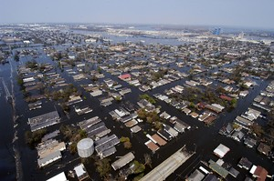 An aerial view of New Orleans showing extensive flooding from the levee breaches.