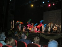Colorful liturgical dancers and a praise band help lead opening worship.