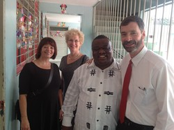 Cindy Correll, mission co-worker in Haiti, LInda Valentine, Executive Director of the Presbyterian Mission Agency, xxx and Hunter Farrell (from left to right) in Haiti