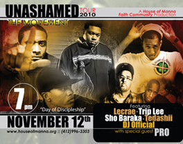 "A poster of six members from a hip-hop group with the title ""Unashamed Tour 2010."""