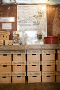 Slavery exhibit: boxes of tomato crates under a table, with smaller crates, a maroon pot and other items in front of a poster decorated with newspaper articles.