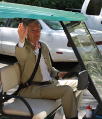 New Montreat President Pete Peery frequently uses an electric cart to make his rounds of the Montreat Conference Center.