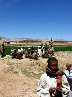 National Guard troops visit villages in Afghanistan's Zabul province to talk with farmers about support available to them from the country's Ministry of Agriculture.