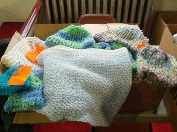 Knitted hats and blankets