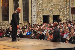U.S. Rep. John Lewis takes questions from Paul Roberts, president of Johnson C. Smith Theological Seminary and moderator of the Q & A session during his appearance at Anderson Auditorium in Montreat.