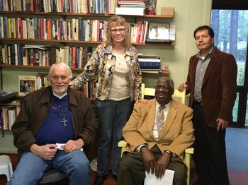 The board of Peace Beyond Understanding: Hillery Kemp and Kenneth Lyons (seated); Delia Matthews and John Castillo (standing).