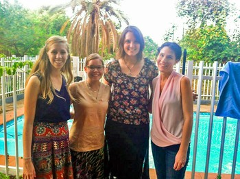 YAVs celebrating Thanksgiving 2014 in Lusaka, Zambia. (From L-to-R) Rebecca Heilman, Hannah Weinberg-Kinsey, Devin Johns, and site coordinator Kari Nicewander.