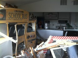 A bus in diner wreckage