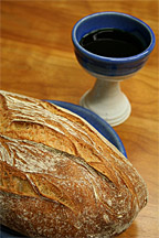 Photogrqph of communion bread and wine chalice