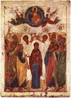 A painting of Jesus above a group of people with Mary prominent in the center; there are figures in white. apparently angels standing among the group.