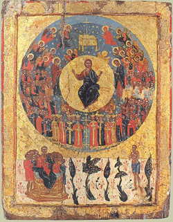 An 17th or 18th century Greek painting of saints and angels surrounding Christ's throne.