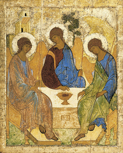 A painting of three men sitting around a table.