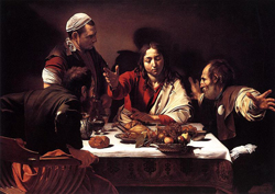 Painting of Jesus and several people around a table with food.