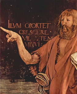A painting of John the Baptist pointing to Christ.