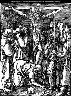 Woodcut of Jesus on the cross.