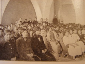 An old photo of people in church