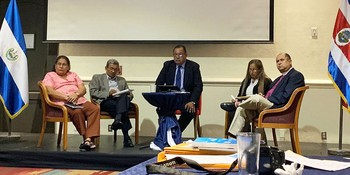 A panel of representatives from the historic protestant churches in El Salvador. From left;Tomasita Moran, Reformed Calvinist Church of El Salvador (IRCES), Rev. Miguel Tomas Castro, Emmanuel Baptist Church,Cesar Rios (Moderated the panel) Institute of Salvadoran Migration (INSAMI), Rev. Blanca Irma Rodriguez, Evangelical Lutheran Church of El Salvador, Bishop David Alvarado, Episcopal Church of El Salvador. Photo by Amanda Craft.