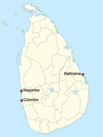 Map of Sri Lanka 2019 attack