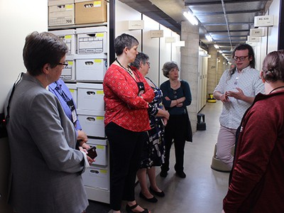 PHS' David Staniunas leads a tour in the archives. Photo by Rick Jones
