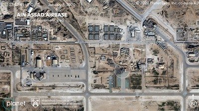 Satellite photo from the commercial company Planet shows damage to at least five structures at the Ain al-Assad air base in Iraq.