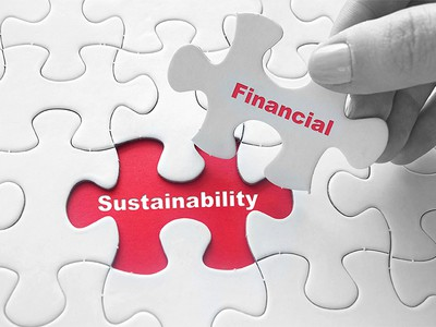 generic image of puzzle with financial sustainability printed on it