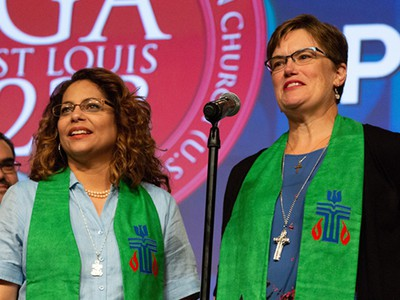 Ruling Elder Vilmarie Cintrón-Olivieri and Rev. Cindy Kohlmann, co-moderators of the 223rd General Assembly of the PC(USA) are commissioned at the 223rd General Assembly of the Presbyterian Church (USA) in St. Louis, MO on Saturday, June 16, 2018.