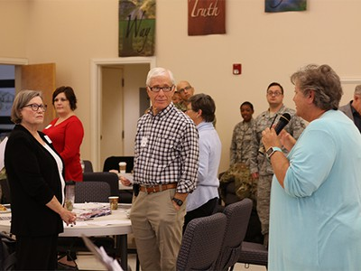 Dee Cooper leads an exercise with chaplains and faith leaders.