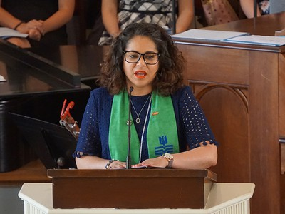 Ruling Elder Vilmarie Cintrón-Olivieri, Co-Moderator of the 223rd General Assembly (2018) speaks at the opening convocation at Columbia Theological Seminary
