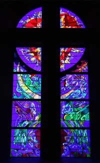 Stained glass window at Webster Presbyterian Church - The Church of Astronauts