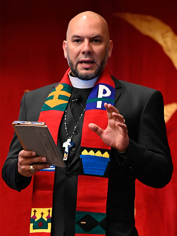 The Reverend Dr. Amaury Tañón-Santos, networker for the Synod of the Northeast, leads opening worship at Big Tent 2019 in Baltimore, MD.