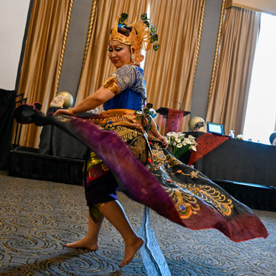 An Indonesian performer offered a dance during the Convocation for Communities of Color. (Photo by Rich Copley)