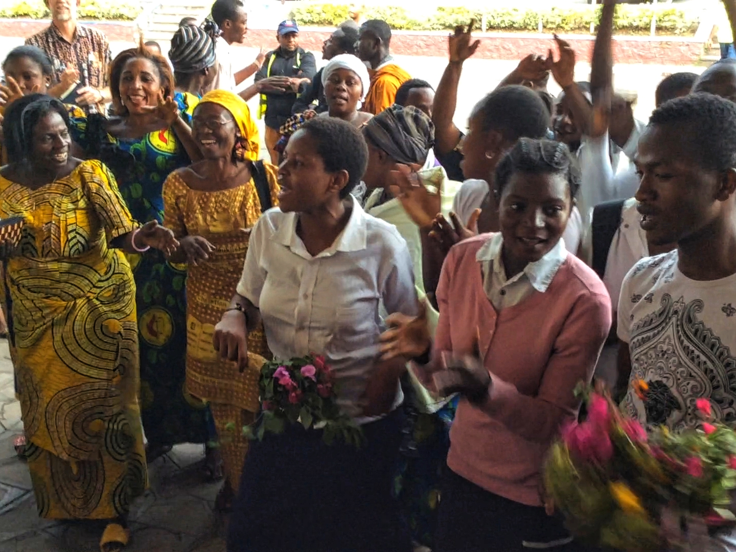 A choir made up of United Methodist youth and war orphans greeted us at the airport on our arrival in Goma