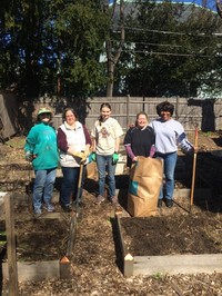 Image of 5 of the people who helped to clean the garden