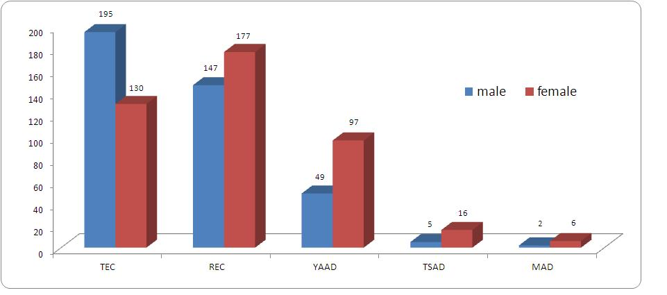 A bar graph with blue bars for male particpants and red bars for females.  The majority of teaching elders are male.  The majority of ruling elder, YAADs, MADs and TSADs are female