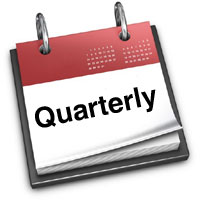 "Flip calendar with word ""Quarterly"""