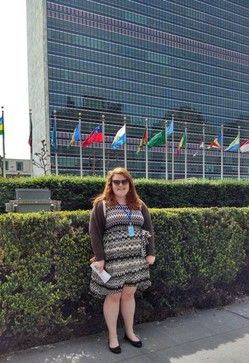 Catherine Warren outside UN Secretariat