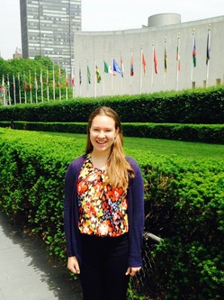 Amelie Clemot outside UN buildings