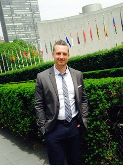Nathan Jumper outside UN buildings