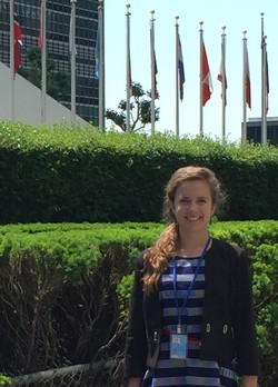 Sarah Hoyle outside the UN