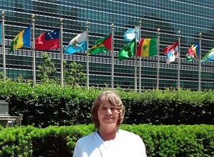 Gail Carol Nelson outside UN