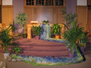 Season of Creation worship service chancel decorations
