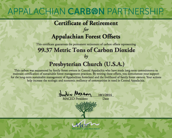 certificate of retirement for carbon offset