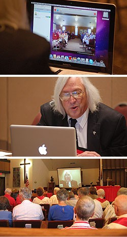 A three-photo collage that of a man seated in front of a laptop, a congregation viewing him on a screen, and the screen of a laptop