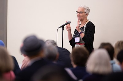 Sue Krummel addresses [04] The Way Forward Committee at the 223rd General Assembly of the Presbyterian Church (USA) in St. Louis, MO on Monday, June 18, 2018.