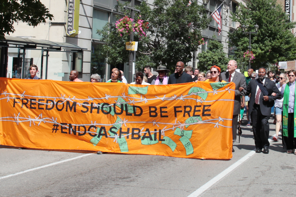 Presbyterians march in the 'Freedom Should Be Free - No Cash Bail' rally at General Assembly 223 in St. Louis. (Photo by Danny Bolin)