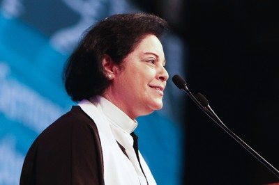 "The Rev. Najla Kassab, President of the World Communion of Reformed Churches delivers sermon ""Towards a Kingdom of Reconciliation"" at the Ecumenical Service of Worship on Wednesday at the 223rd General Assembly."