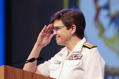 Rear Admiral Margaret Grun Kibben, Chief of Chaplains United States Navy brings delegates to their feet as guest speaker during a portion of Wednesday's plenary 5.