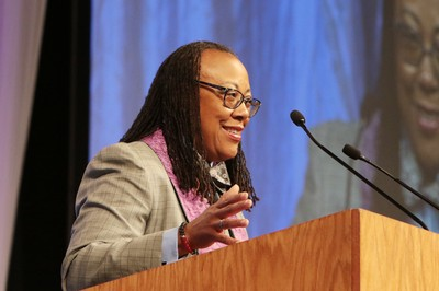 "The Rev. Floretta Barbee-Watkins delivers sermon ""The Radical Difference"" during Thursday's worship service."