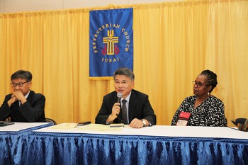 (Left to right): the Rev. Kyoung-gyun Han, the Rev. Jaecheon Lee and the Rev. Robina Winbush speak during a press conference of Korean Church leaders at 223rd GA (2018)